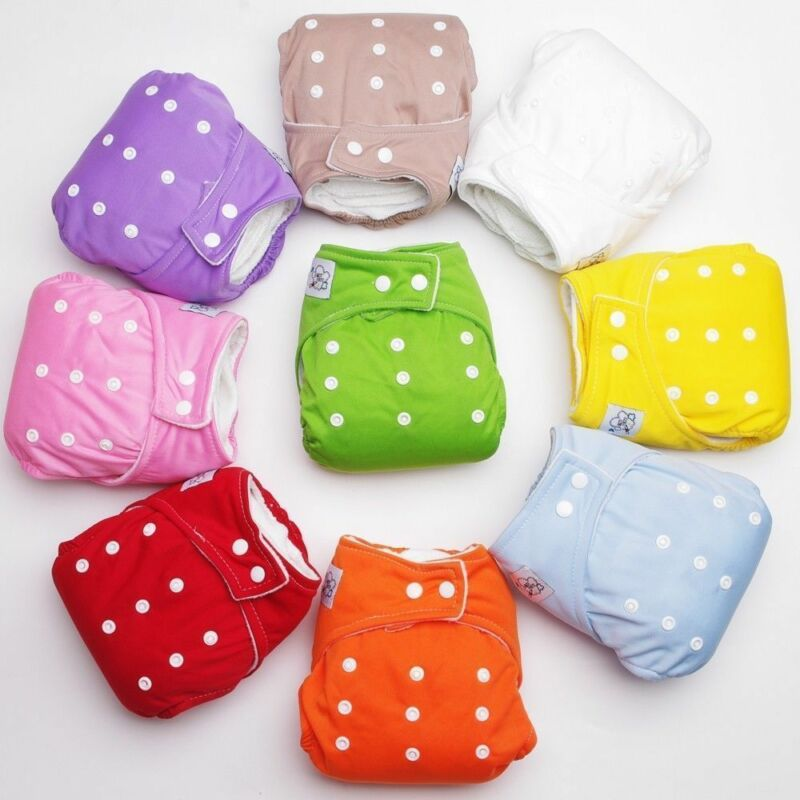 1 PCS Adjustable Reusable Lot Baby Kids Boy Girls Dot Cotton Soft Washable Cloth Diaper Nappies