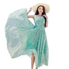 Dresses Of The Big Size Womens 2019 Short Sleeve Print Bohemian Boho Beach Chiffon Long Dress 5XL Plus Vestidos  YH94