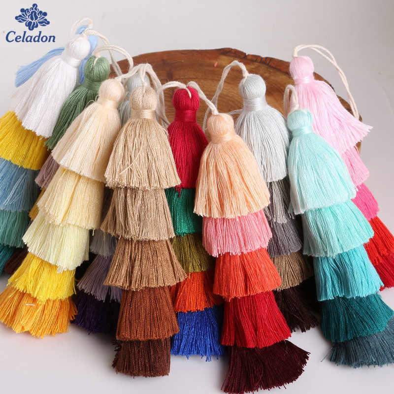15cm long Silk Tassels Five Colors Poly Cotton Tassel Charms, For Fashion Necklace Jewelry Key Chain Bag Decoration