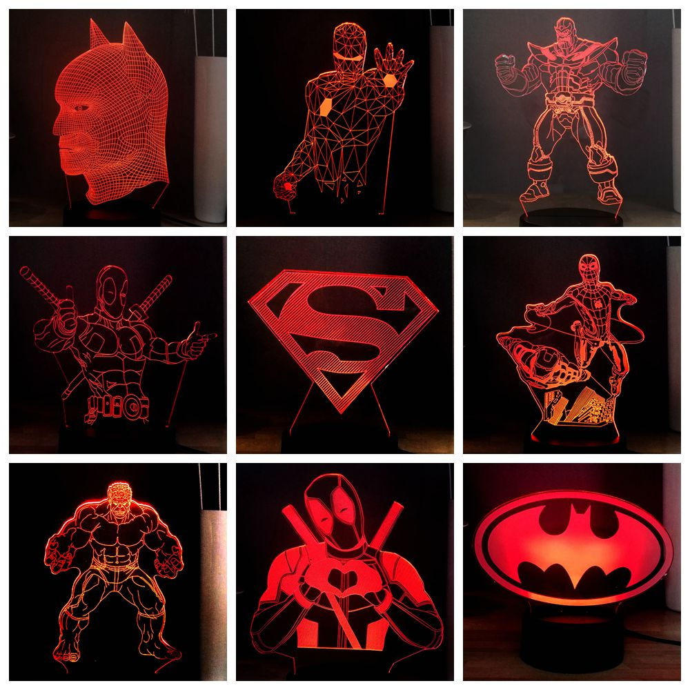 2019 HOT Marvel Deadpool Superman Batman Iron Man Spider Man Thanos LED NIGHT LIGHT USB REMOTE 3D Desk Lamp Kids Gift Multicolor