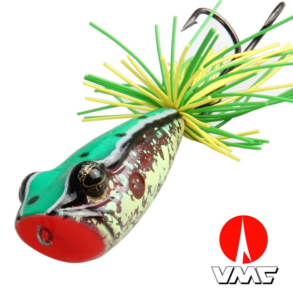 Artificial Fishing Bait Top Water Floating Fishing Lure VMC 3/0 Double Hook For Pike Bait 58MM 11.5G Frog Popper Fishing Lure export prefessional fishing lure minow hard bait 9cm 30g 3 vmc hook laser scale body inside steel balls for every water depth