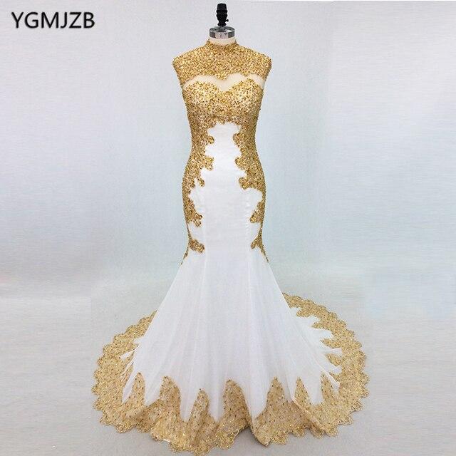 Elegant White Mermaid Evening Dresses Long 2018 High Neck Gold ...