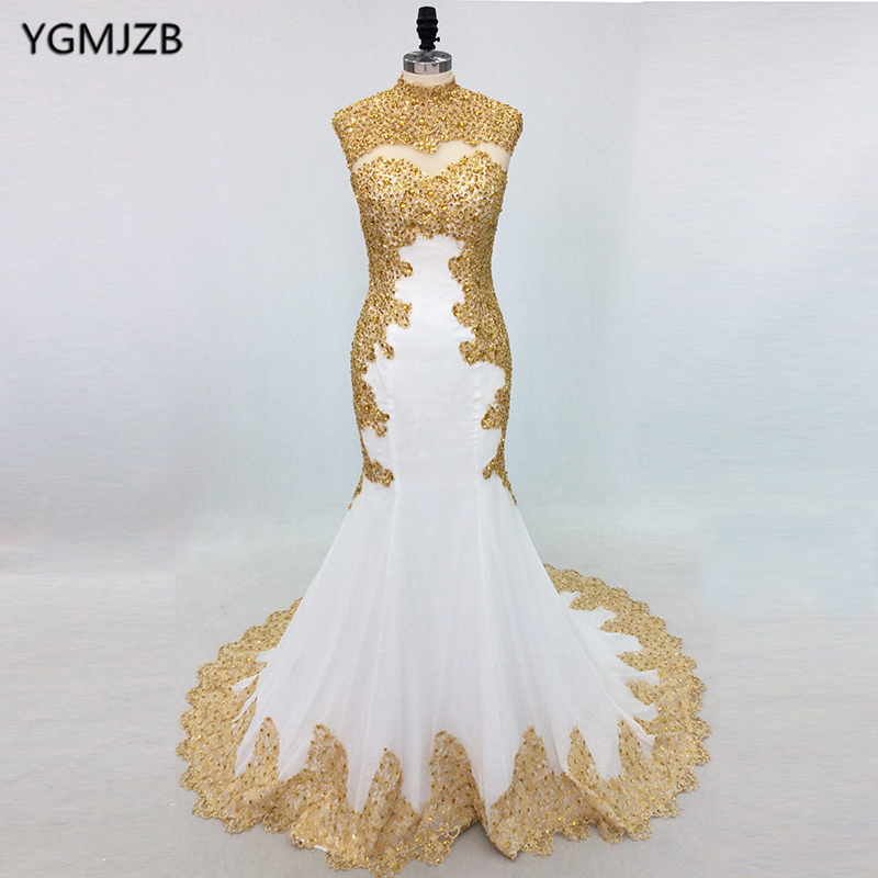 Elegant White Mermaid   Evening     Dresses   Long 2019 High Neck Gold Embroidery Beaded Women Formal Prom   Evening   Gowns Abiti Da Sera