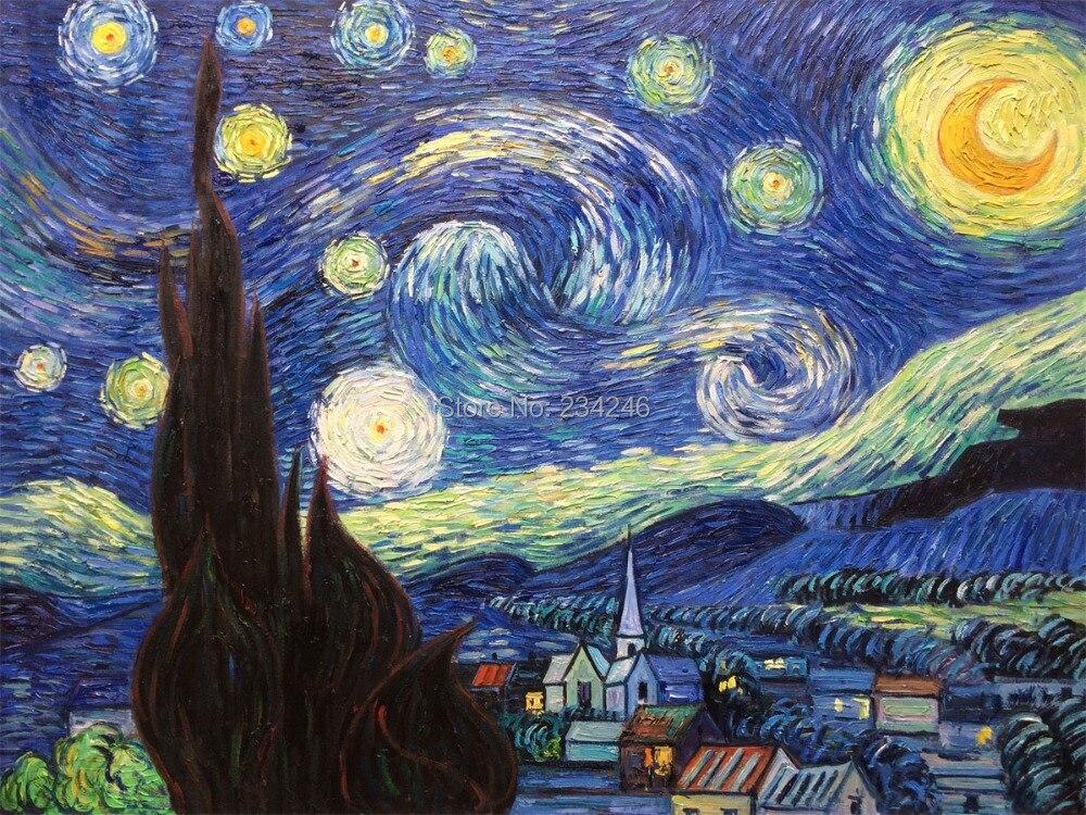 Dipinti Murali E Pittura Ad Ago : ① dipinto a mano pittura notte stellata di vincent van gogh