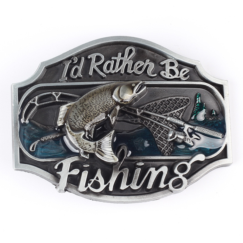 Fishing Alloy Leisure Belt Buckle Fish