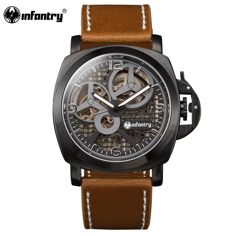 Mens Watches Top Luxury INFANTRY Men Leather Military Sport Wristwatch Hand Winding Mechanical Skeleton Watch Relogio Masculino  1pcs men s luxury mechanical wristwatch skeleton watches hand wind up leather strap free shipping wholesale relogio masculino j5
