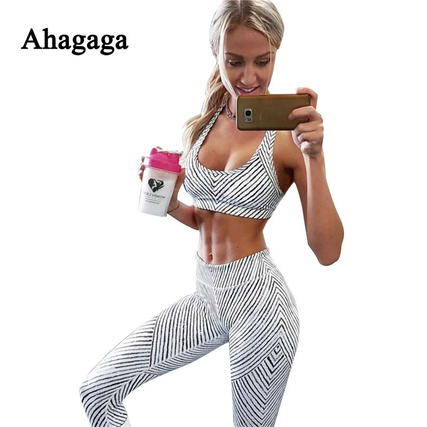 Ahagaga 2017 Summer Autumn Fitness Tracksuits Sets Women Suit Fashion Print Set Costume Sexy Tops Leggings