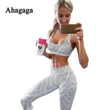 Ahagaga 2017 Summer Autumn Fitness Tracksuits Sets Women Suit Fashion Print Set Costume (Sexy Tops+Leggings) Women Suits Femal