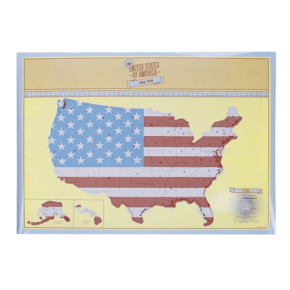 Travel Portable Travel Map of United States Map Traveller Unique Personalized Gift Fun Trip Map 84.1*59.4cm Drop Shipping