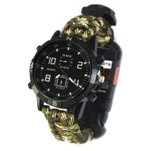 Outdoor Survival Multifunctional Watch All-in-one with Compass Thermometer Whistle Mens Wristwatches