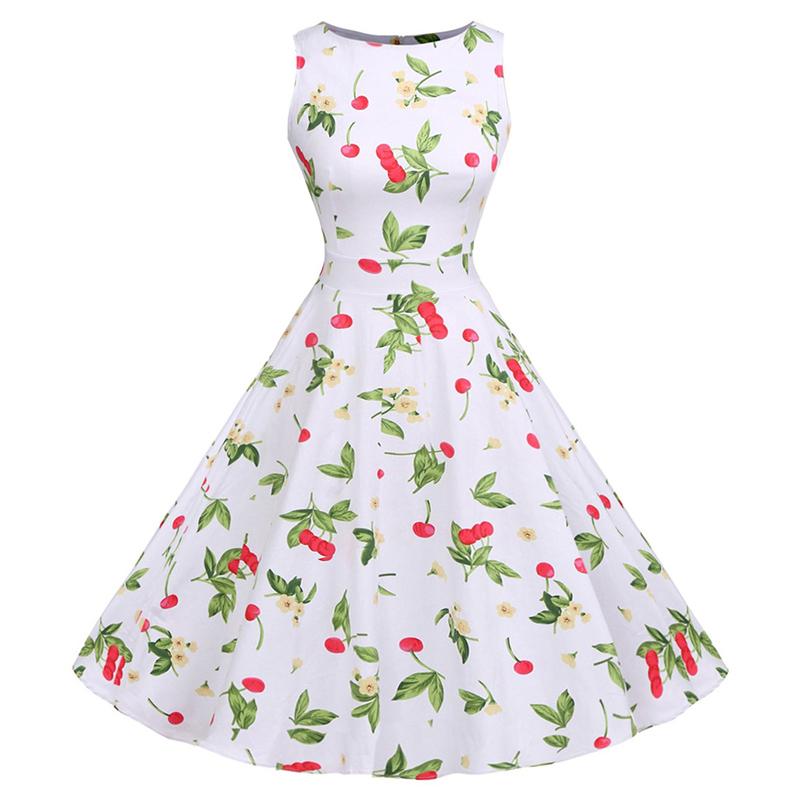 Kostlish Cotton Summer Dress Women 2017 Sleeveless Tunic 50s Vintage Dress Belt Elegant Print Rockabilly Party Dresses Sundress (93)