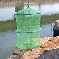 Plastic Frame 2 Sections Foldable Fishing Gear Fish Trap Keep Net Green diameter 33cm small mesh k8356 wholesale
