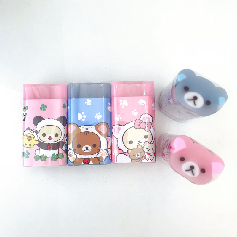 1X Kawaii Jelly Bear Cutable Eraser Mini School Supply Student Stationery Writing Drawing Correction Rubber Kids Gift