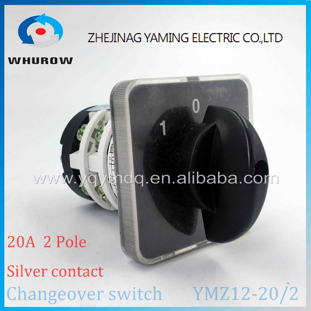 Rotary switch knob 3 position YMZ12-20/2 universal combination manual electrical changeover cam switch 20A 2 poles load circuit breaker switch ac ui 660v ith 100a on off 3 poles 3 phases 3no 2 position universal rotary cam changeover switch