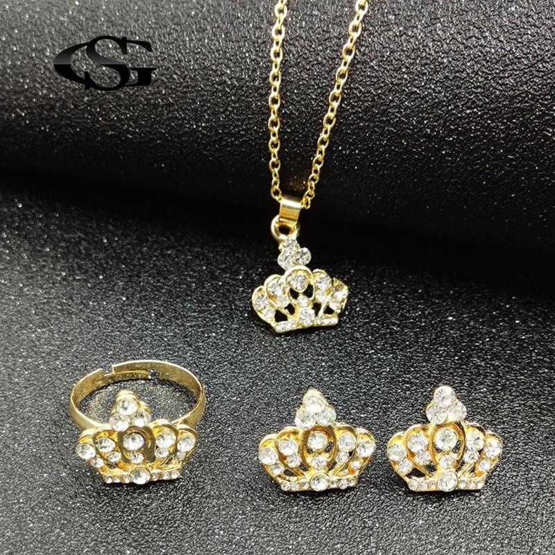 GS Charm Princess Elegant Crystal Crown Necklace Earring Ring Bracelet Bangle Set Creative Luxury Geometric Metal Jewelry Set Y3