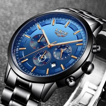 LIGE часы мужские модные спортивные кварцевые часы мужские часы Топ бренд класса люкс полностью стальные бизнес водонепроницаемые часы Relogio ...