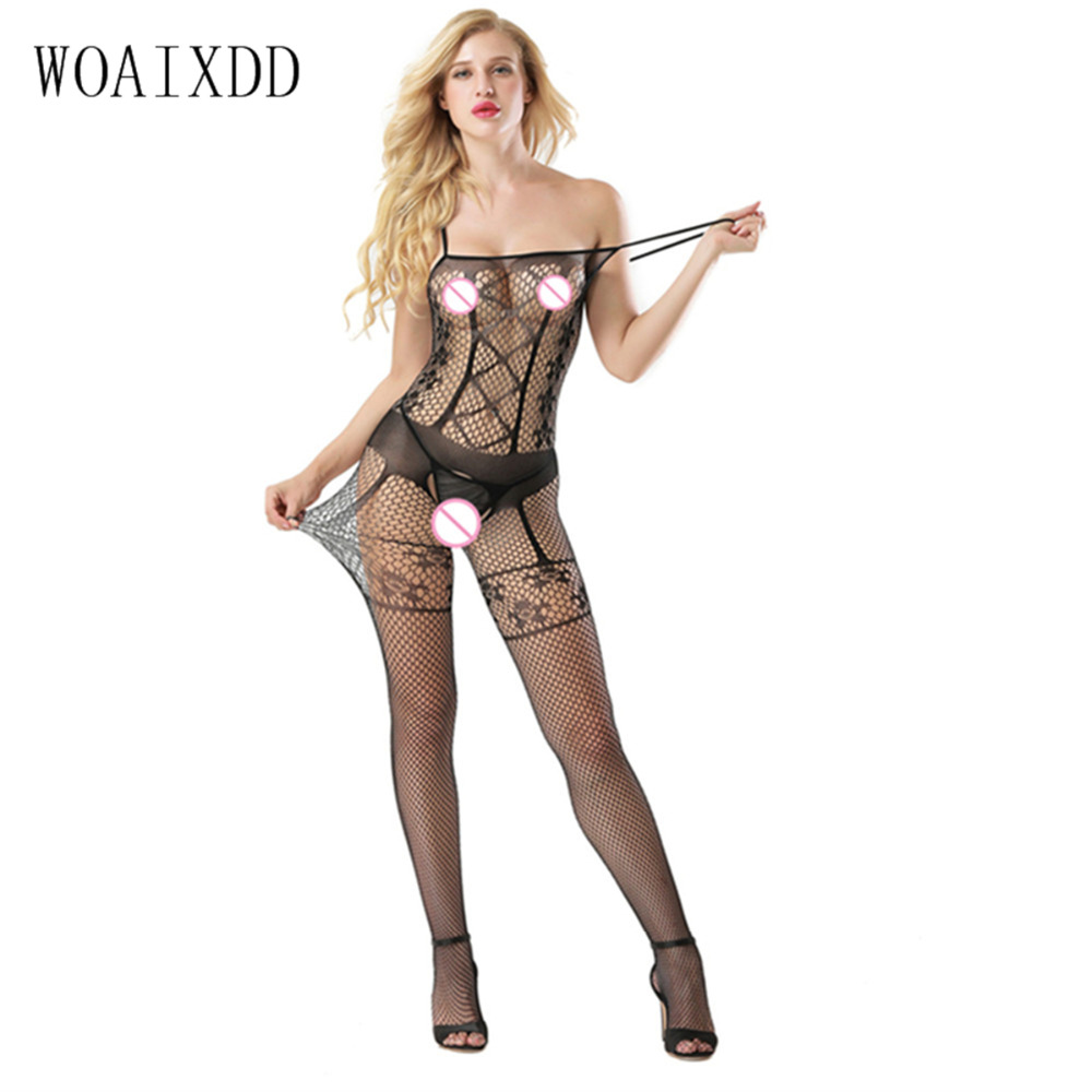 Bodystocking Open Crotch White Solid Bodysuit Women See Through Sexy Body Suits For Wome ...