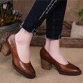 2015 Estilo Retro Mulheres Sapatos de Couro Genuíno Plataforma Bombas Artesanais Sapatos de Salto Alto