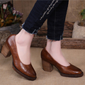 2015 Retro Style Genuine Leather Women Shoes Platform Pumps Handmade High Heels Shoes
