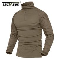TACVASEN Men Tactical T shirt Gray & Khaki Paintball Combat T Shirt Men Long Sleeve Military T Shirt Men's Hunt T shirts Outwear