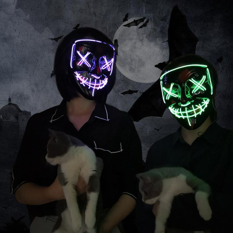 Led Mask Halloween Party Masque Masquerade Masks Neon Maske Light Glow In The Dark Mascara Horror Maska Glowing Masker Purge