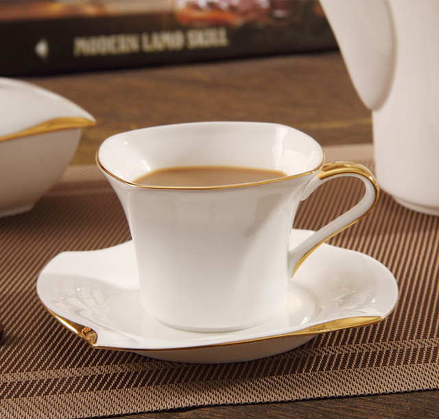 New Ingrid Gifts Continental Narumi Bone China Ceramic Cups And Saucers Spin Square Coffee Set Gift Box