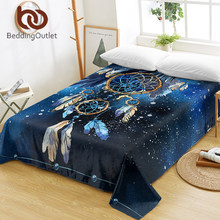 BeddingOutlet Dreamcatcher Bed Sheets Feather Boho Flat Sheet Bald Eagle Bed Linen Bohemian Blue Galaxy Sofa Cover Queen King(China)