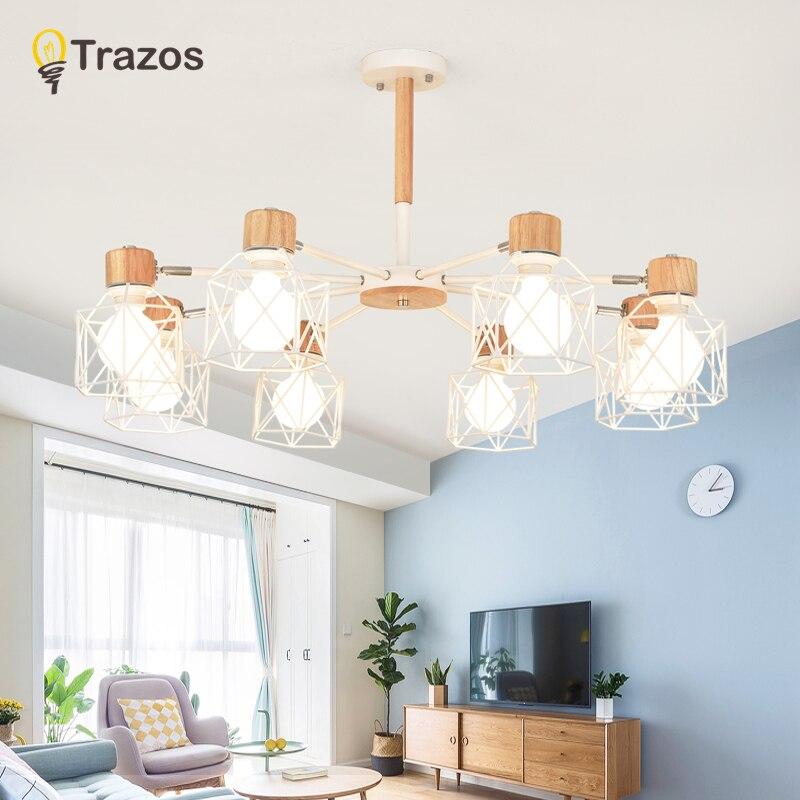 TRAZOS Madeira Luzes do Pendente Para Sala de estar Ferro Abajur LED E27 Lâmpada Lustres de Iluminação industrial de Para Sala De Jantar Em Casa