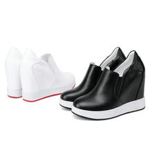 Trainers Shoes Women Genuine Leather Wedges Platform High Heel Punk Creepers Black White Party Pumps Low Top Tennis