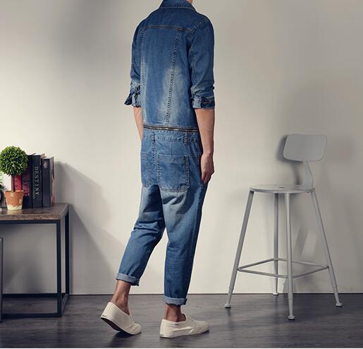 dfa1730d76b Korean style mens fashion Vintage slim long sleeve denim jumpsuit one piece  bodysuit jean overalls big pocket decorate Cotton