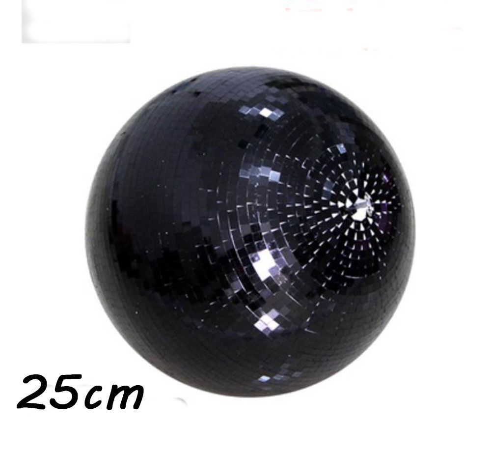 D25cm diameter Black hand made glass rotating mirror ball 10