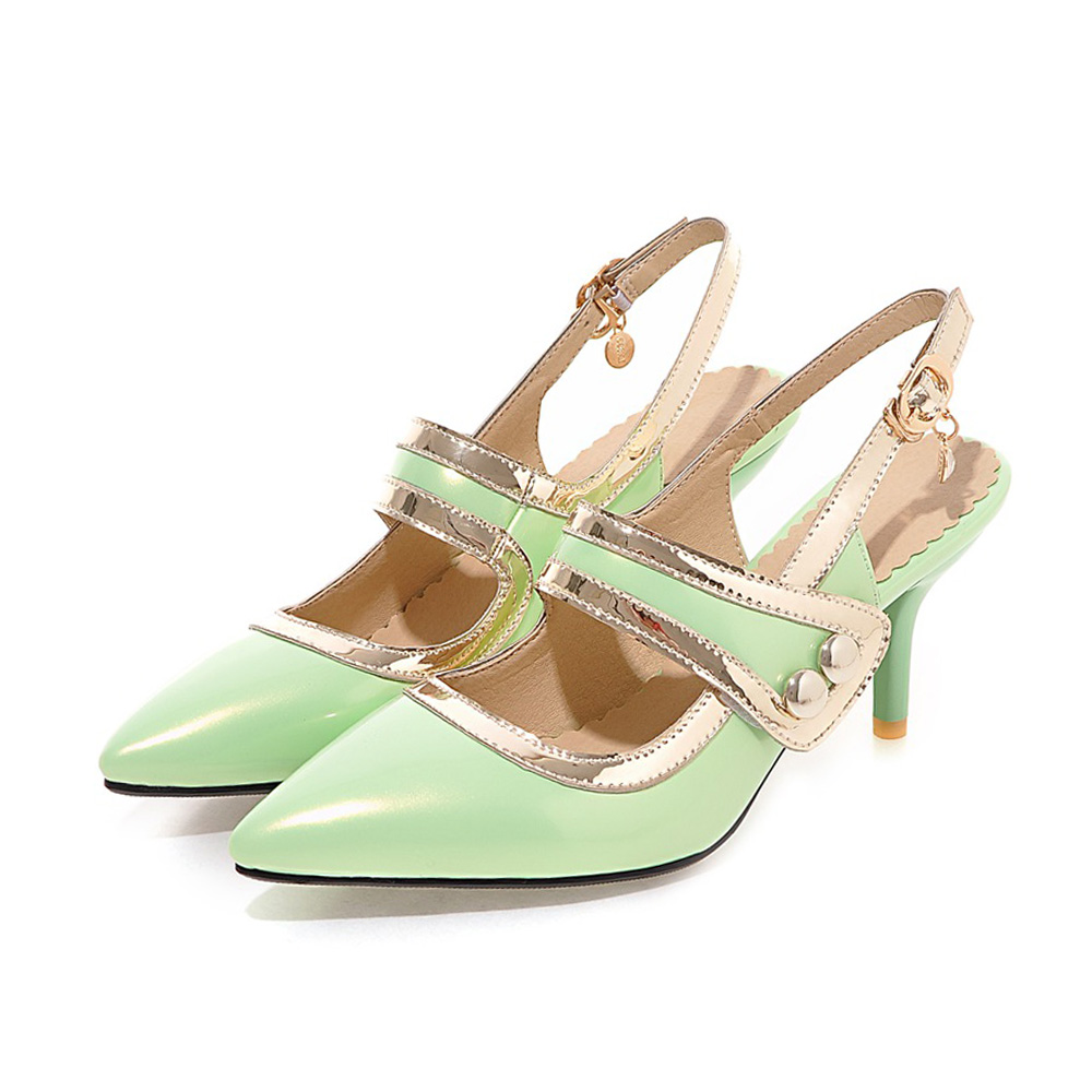 Women Sandals Slingback Spike Stiletto High Heel Pointed Toe Patent Leather Buckle Strap Crystal Summer Dress Party Ladies Shoes  shinny patent leather high platform stiletto buckle strap women sandals party dress nude black lady pumps high heel dress shoes