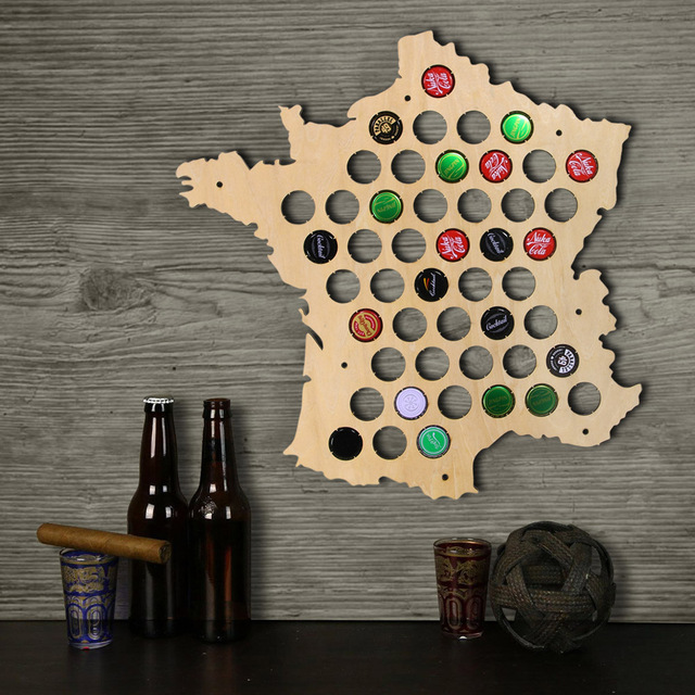 1Piece Bottle Beer Caps Map Of France Creative Laser Engraved Wood Maps  Wall Art For Cap