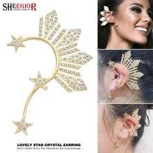 Lovely Golden Star Ear Clip on Earrings for Women Accessories Crystal Rhinestone Stars Big Cuff Earring Fashion Jewelry Gift