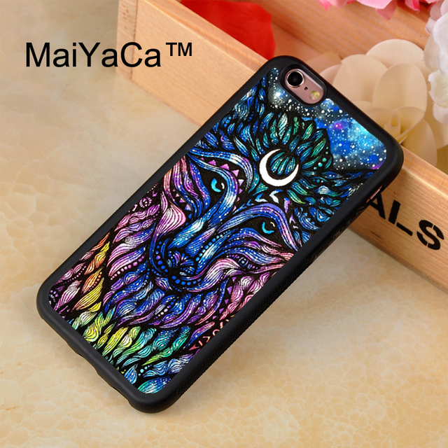 Top MaiYaCa Tribal Wolf Hippie Phone Cases For iPhone 8 Coque Case  KK38