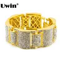 Men's Large Iced Out Bling Bling Rhinestones Luxury Bracelet Link Wrist Gold Chain With Gift Bag Simulated Rhinestones Jewelry
