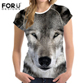 FORUDESIGNS 2017 fashion women t shirt Wolves Animal T Shirt Harajuku short sleeve o-neck Casual girl lovely tees 3d funny tops