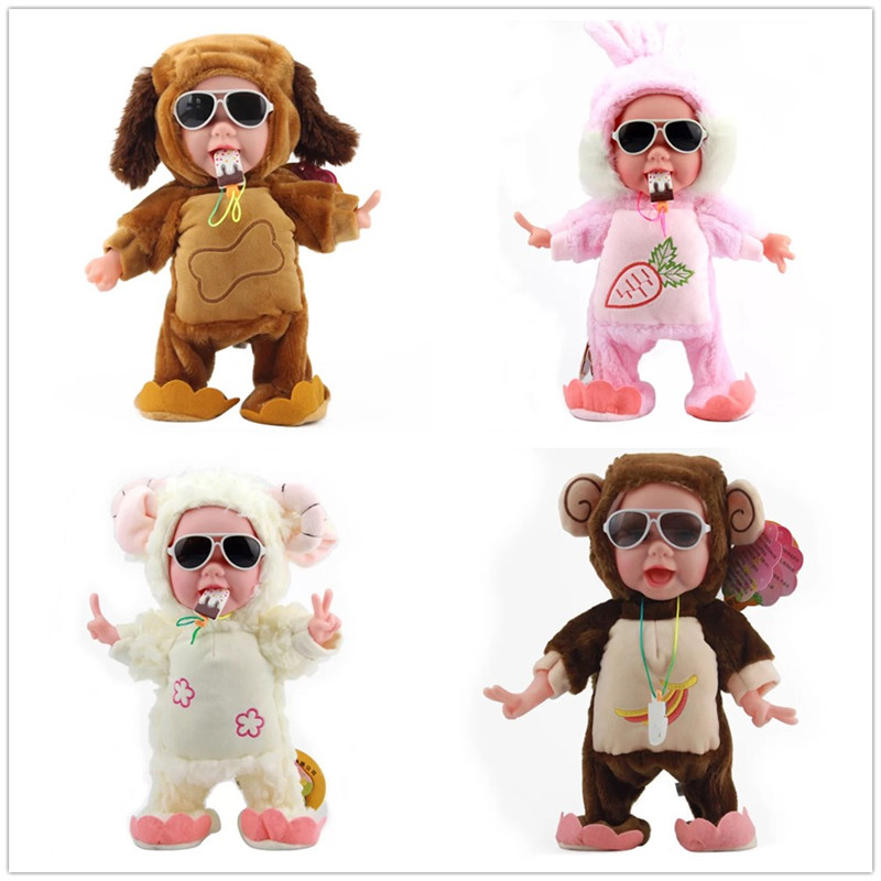 32CM Funny Electric Plush Toys Music Walking Dancing Dog Monkey Stuffed Dolls With Ice Cream Plush Bears Chirstmas Gift For Kids