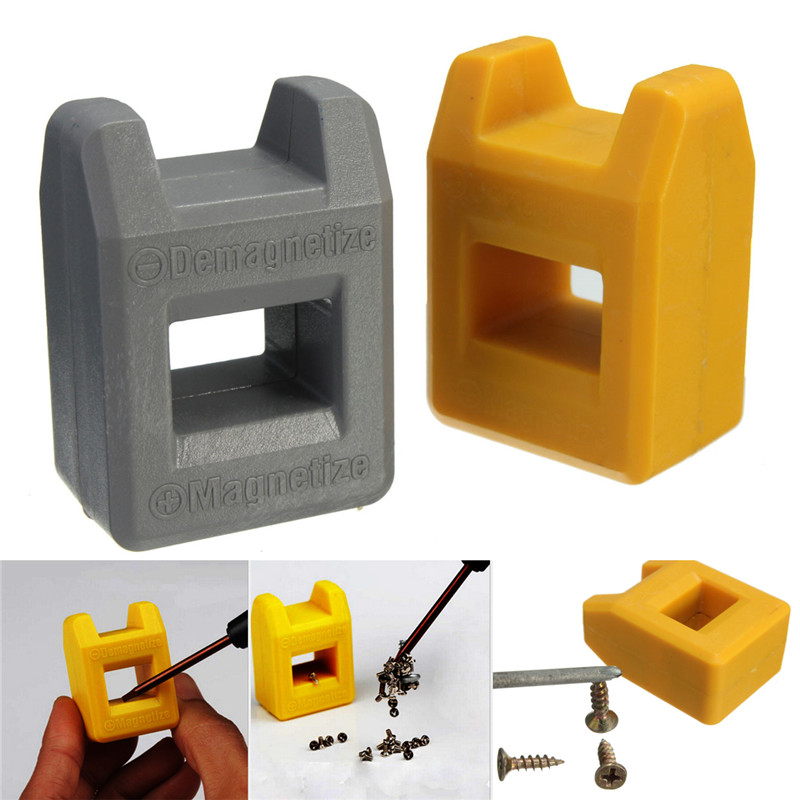 1PC 2 Color Magnetizer Demagnetizer Screwdriver Tips Screw Driver Magnetic Tool Yellow Grey high quality mini 2 in 1 magnetizer demagnetizer tool screwdriver magnetic