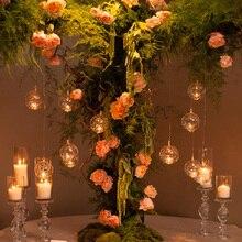 Классический хрустальный прозрачный стеклянный подвесной подсвечник, романтический свадебный ужин, декоративный подсвечник, вечерние, домашний декор, 4 размера