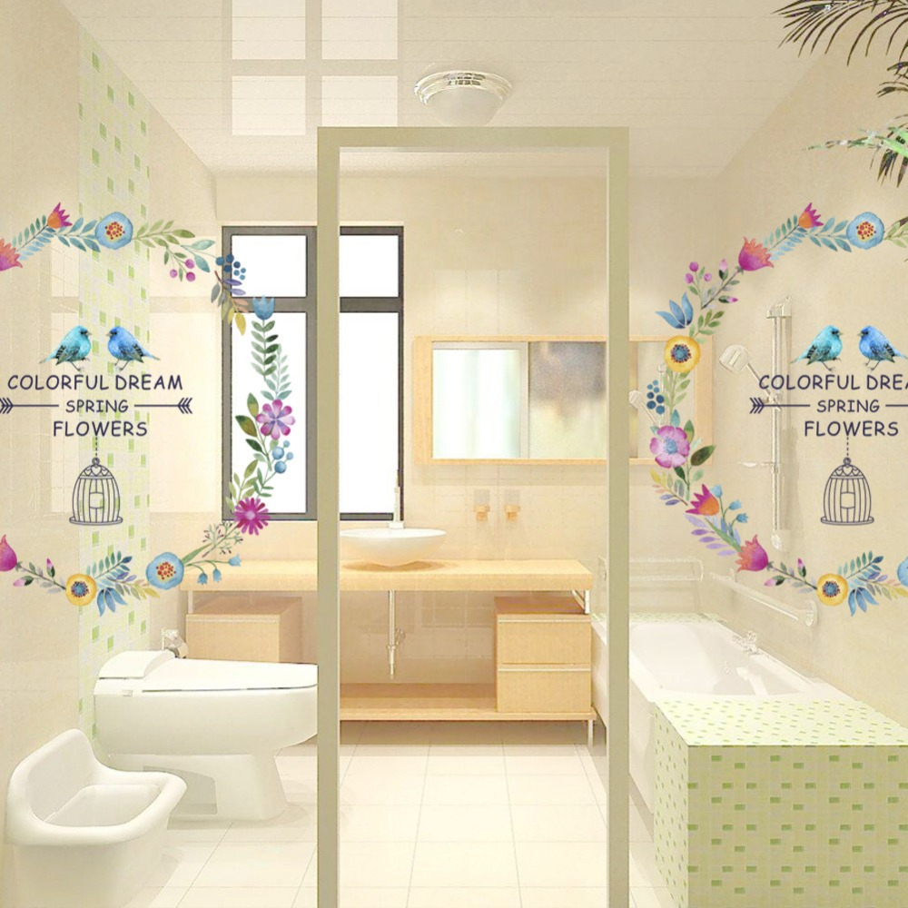 decoration Birds flower wreath colorful dream spring Wall sticker ...