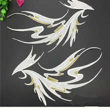 10Pair/Lot Wing Embroidery Large Applique Patch Fabric Iron On Jacket Clothes Dress Decorate Accessory 29*17CM White Black Blue