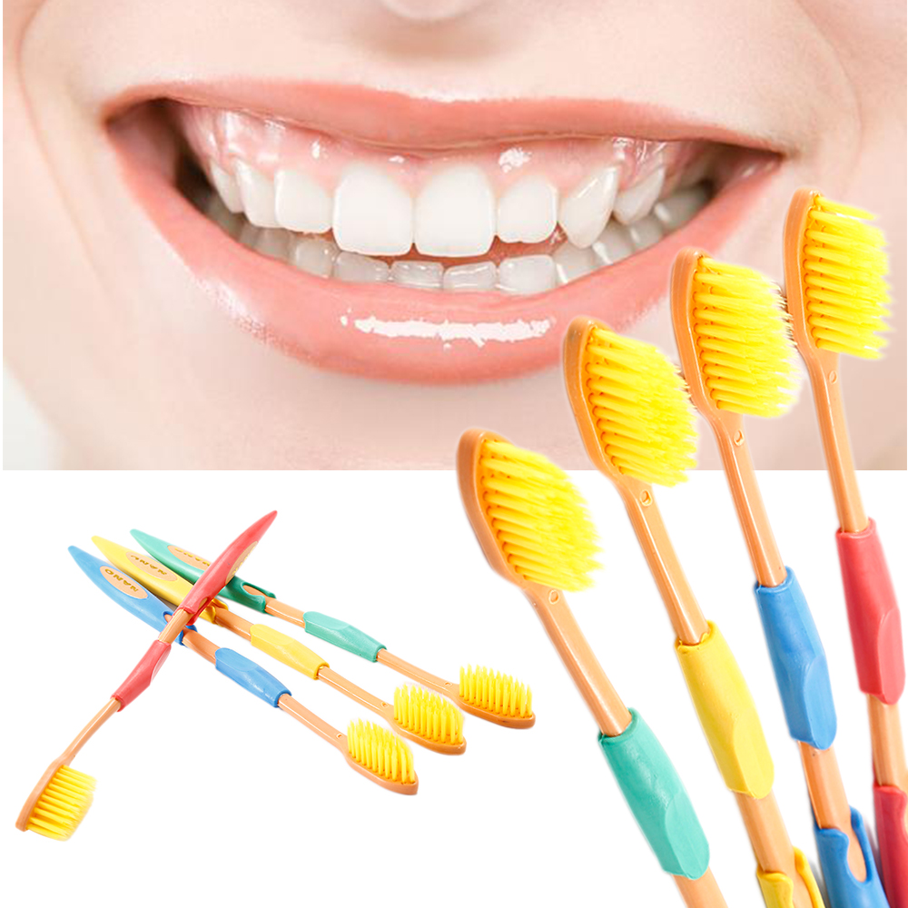 New Ultra Soft 4Pcs Double Toothbrush Bamboo Charcoal Nano Brushes Oral Care Nano-antibacterial Toothbrush Yellow Heads Brush