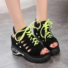 Lucyever damskie gladiatorki na platformie letnie wygodne kliny wysokie obcasy buty kobieta swobodna koronka Up Peep Toe obuwie