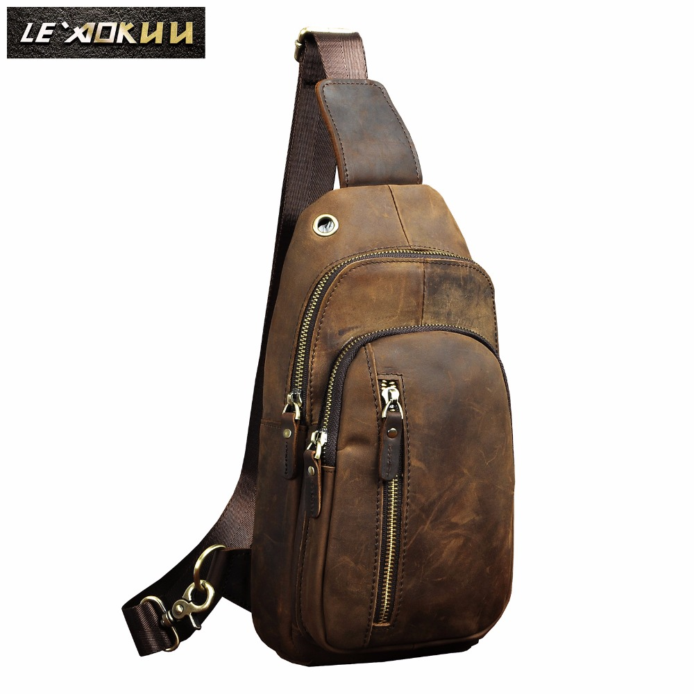 Men Original Leather Casual Fashion Chest Sling Bag Brown Design Travel Triangle One Shoulder Cross Body Bag Daypack Male 8005-d