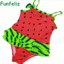 цена на Children girl swimwear baby girl one-piece swimsuit 3 colors watermelon print bathing suit for girls kids swimming suit 1-5 age
