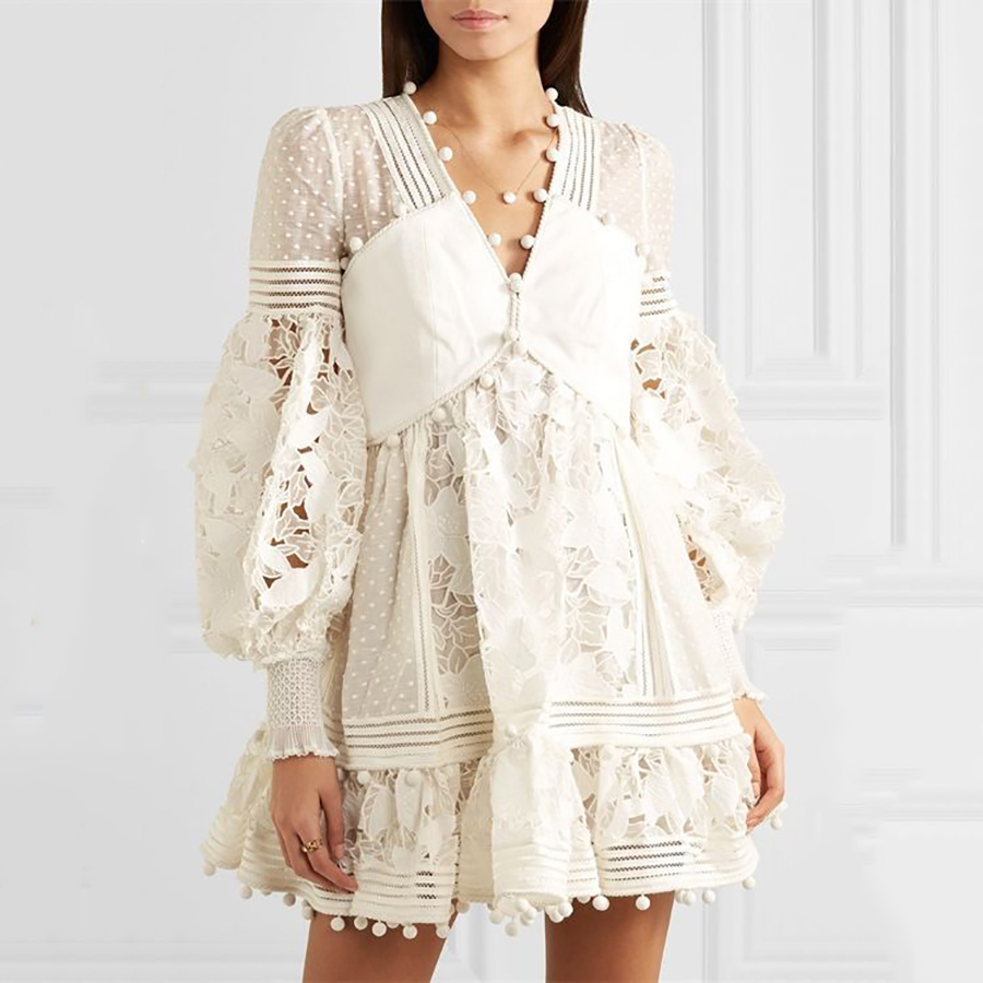 Luxury Brand 2019 Summer Solid White Women Dress Lace MeshHollow Out Perspective Sexy Dress Vestidos V-neck Lady Mini-dress