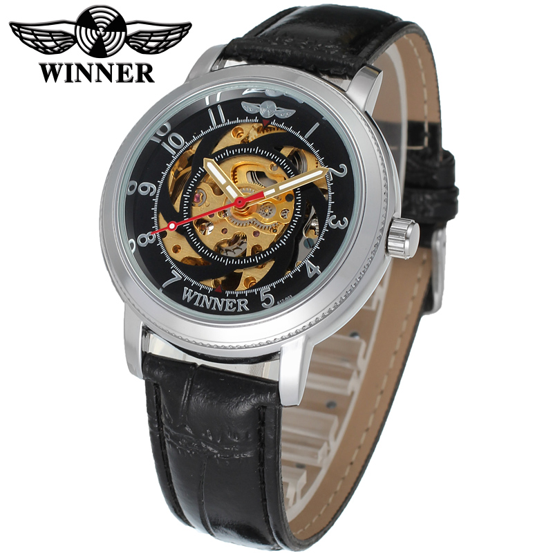 Fashion WINNER Men Luxury Brand Casual Skeleton Leather Band Watch Automatic Mechanical Wristwatch Gift Box Relogio Releges 2016 fashion winner men luxury brand date leather band casual watch automatic mechanical wristwatches gift box relogio releges 2016