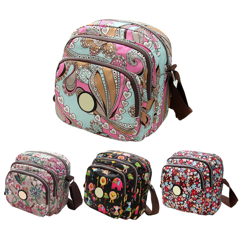 2017 Korean Fashion Women Messenger Bags Canvas Flower Print Crossbody Three Zipper Pocket Shoulder Bags Small Mom Handbags