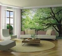 Groothandel Landschap Landschap Groene Bomen Muurschilderingen 3d Muur Foto Muurschilderingen Vinyl Behang voor Woonkamer 3d Muurschilderingen 3d Fresco